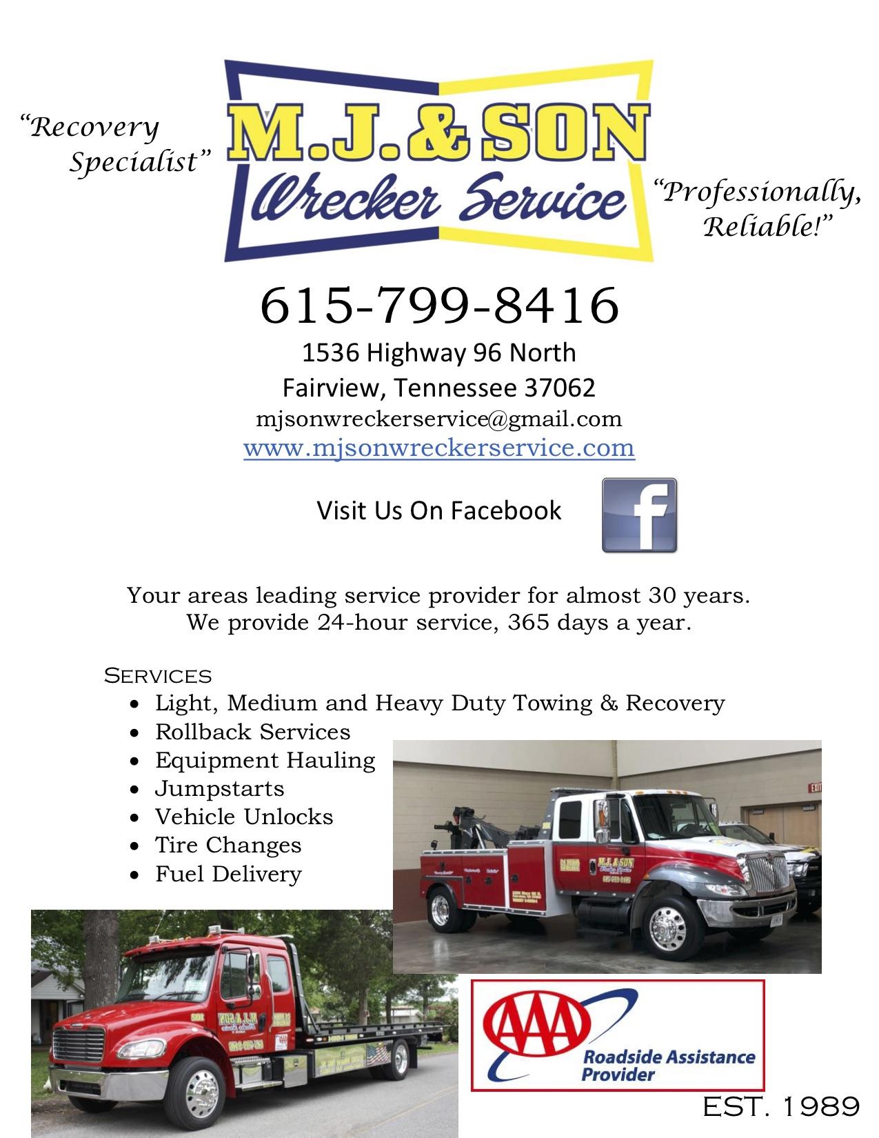 M. J. & Son Wrecker Service Inc.