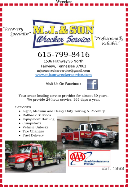 M. J. & Son Wrecker Service Inc.